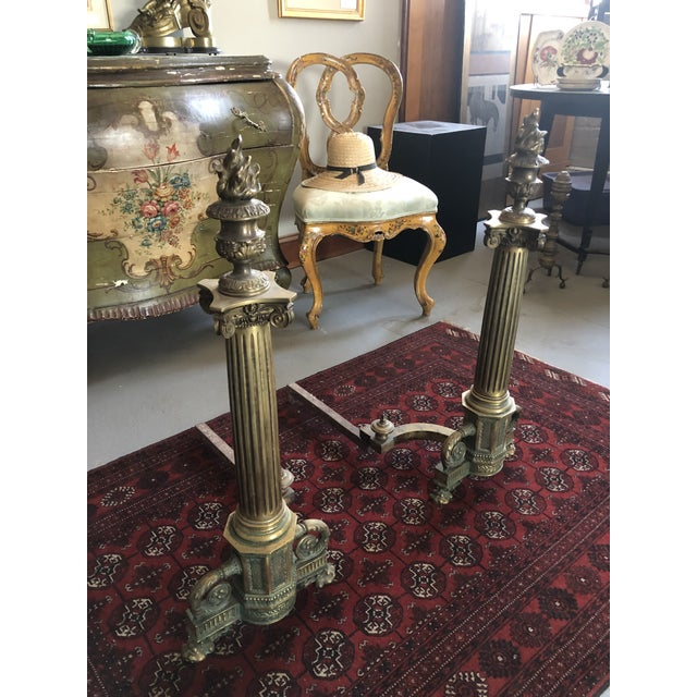 Traditional C. 1900 Neo Classical Brass Pillar Fireplace Andirons - a Pair For Sale - Image 3 of 13