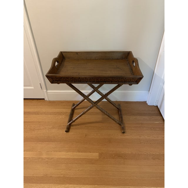 1960s Mid Century Faux Bamboo and Rattan Folding Tray Table For Sale - Image 12 of 12