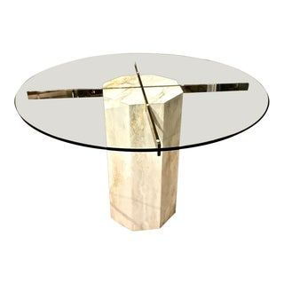 Hollywood Regency Travertine, Brass and Glass Dining Table, C. 1980's For Sale