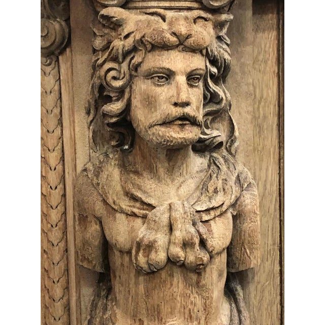 Figurative 19th Century Monumental French Renaissance Figural Carved Oak Bookcase For Sale - Image 3 of 12