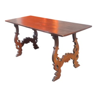 Antique Early 19th Century Century Italian Baroque Walnut Lyre Base Trestle Table For Sale