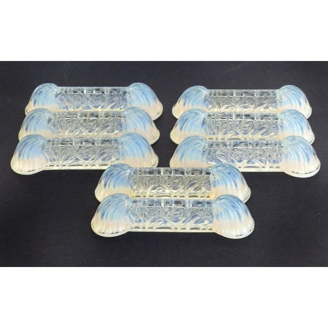 "Offered for sale is a set of eight Art Deco circa 1940""s Verlys Glass, French opalescent glass knife rests. The set would..."