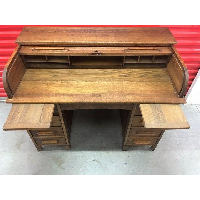 Antique Oak Roll-Top Desk - Image 8 of 9