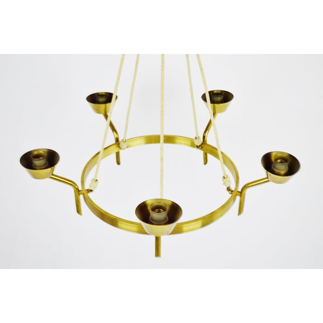 Antique Brass & Rope Chain 5 Light Chandelier - Image 5 of 10