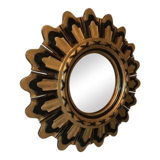 Vintage Sunburst Wall Decor Gilt Wood Mirror For Sale