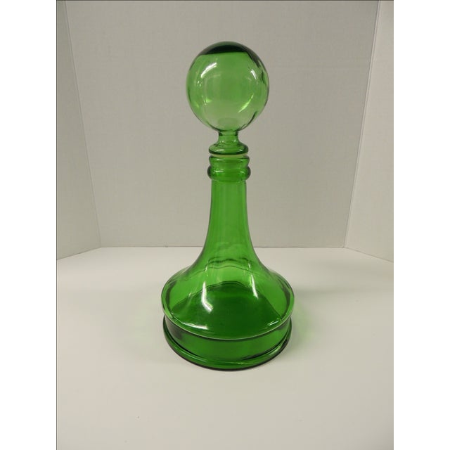 Vintage Green Glass Wine Decanter - Image 2 of 4