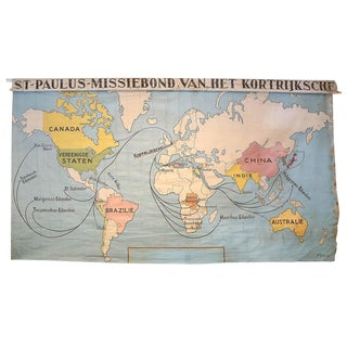 Antique Canvas World Wall Map of Belgium Church