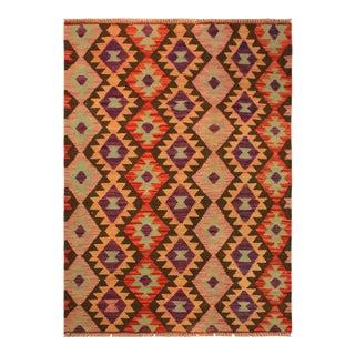 Kilim Arya Nephele Rust/Purple Wool Rug -3'4 X 5'0 For Sale
