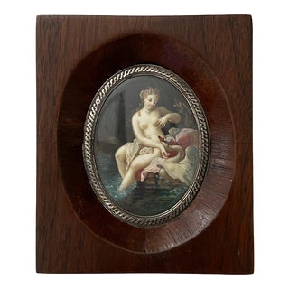 """19th Century """"Lida and the Swan"""" Miniature Painting, Framed For Sale"""