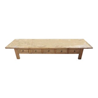 Chinese 5-Drawer Low Coffee Table For Sale