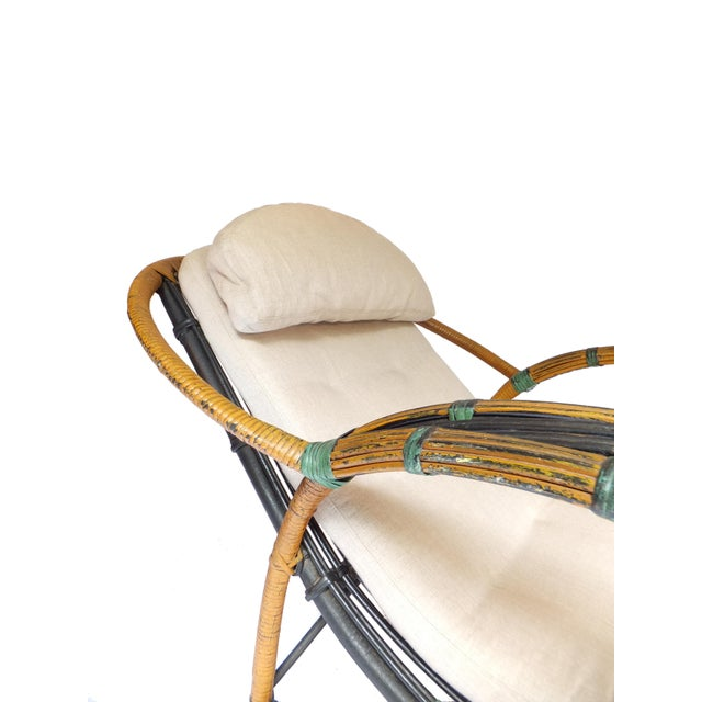 Tan Unusual Twin Reed Lounge Chair For Sale - Image 8 of 9