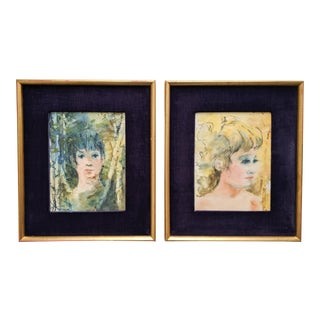 Stunning Antique Original Watercolor Portraits of Girls With Gold Frame and Purple Velvet - Pair of 2