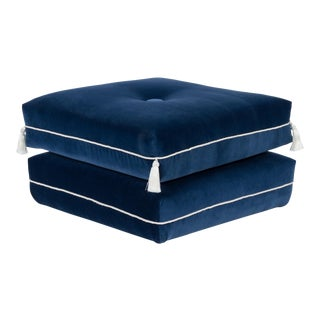 Casa Cosima Turkish Ottoman in Cadet Blue Velvet For Sale