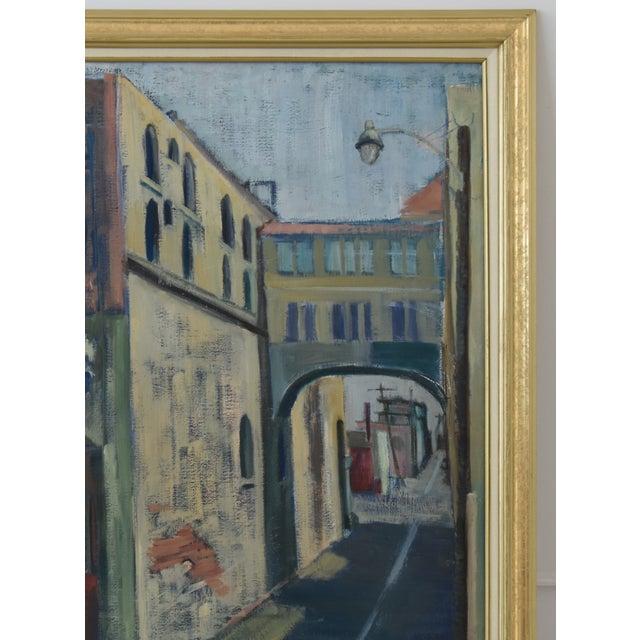 Midcentury Vintage European Village Street Oil Painting For Sale - Image 4 of 10