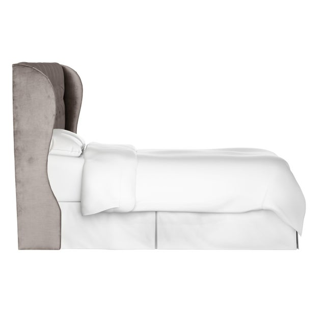 Contemporary Twin Tufted Wingback Headboard in Majestic Smoke For Sale - Image 3 of 6