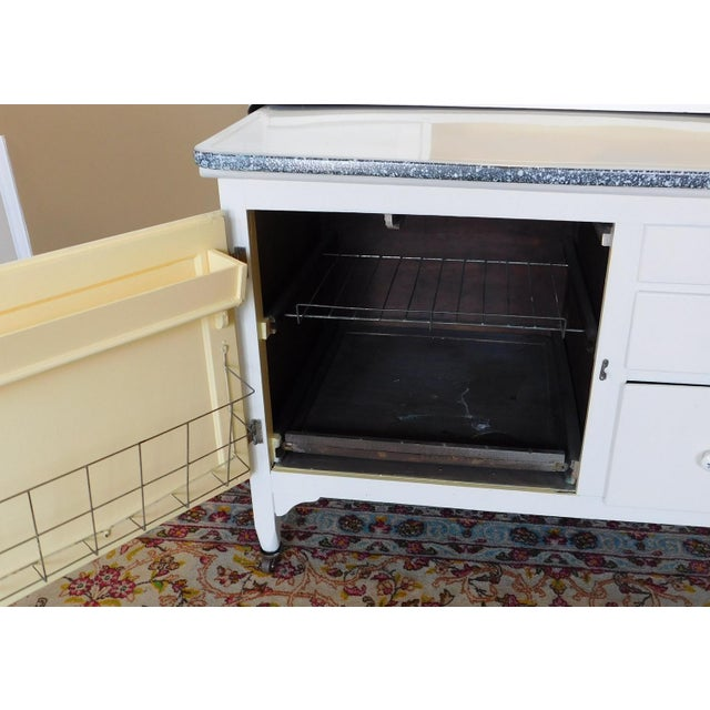 Antique Sellers Restored Painted White Hoosier Kitchen Cabinet C1890 For Sale - Image 12 of 13