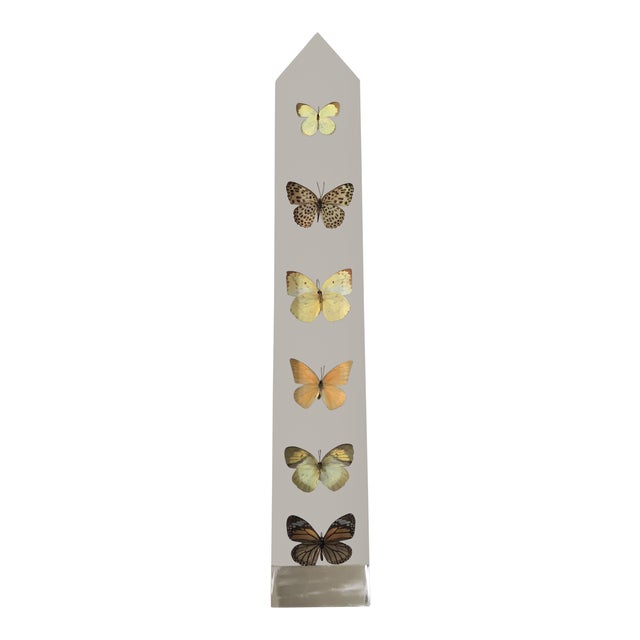 Vintage Jonathan Adler Lucite Butterfly Obelisk For Sale