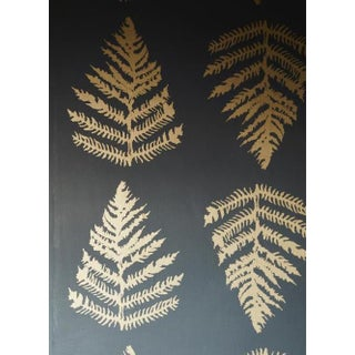 Erica Tanov Fern Wallpaper in Charcoal + Gold - 1 Roll For Sale