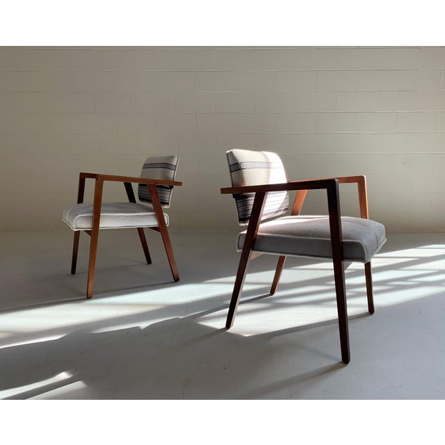 Franco Albini for Knoll Model 48 Chairs in Calfskin and Isabel Marant Silk Wool For Sale In Saint Louis - Image 6 of 9