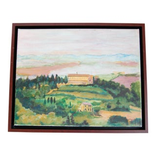 1960s Vintage Italian Countryside Original Oil Painting For Sale