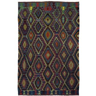 Vintage Evil Eye Turkish Esme Kilim in Vibrant Hues | 6'8 X 10'6 For Sale
