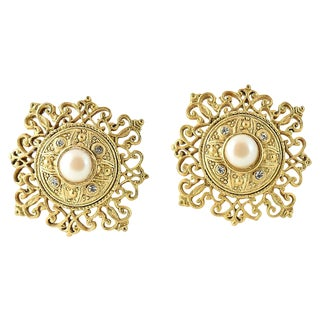 20th Century Victorian Goldtone Faux-Pearl Earrings - a Pair For Sale