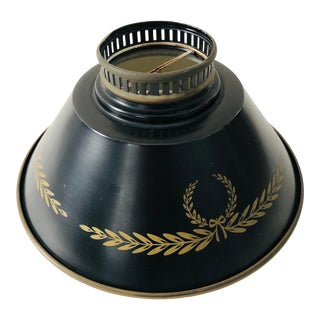 Mid-Century Federal/Napoleonic Style Black Tole Metal Shade For Sale