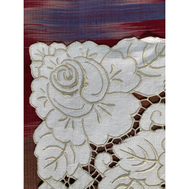 Traditional Vintage Ivory Linen Embroidered Placemats- Set of 6 For Sale - Image 3 of 5