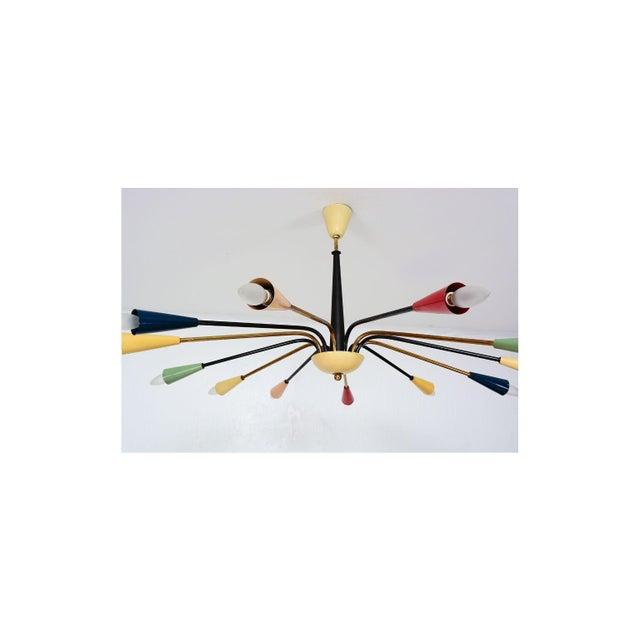 Arredoluce Sputnik Style of Angelo Lelli for Arredoluce Italy Colored Chandelier 1950s For Sale - Image 4 of 11