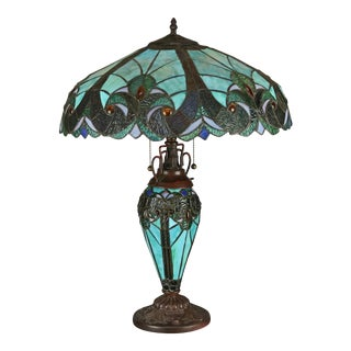 Vintage Arts & Crafts Tiffany Style Leaded Slag and Jeweled Glass Mosaic Lamp