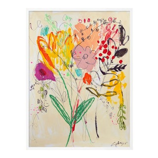 Flowers for Her by Lesley Grainger in White Frame, Medium Art Print For Sale