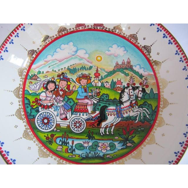 English Vintage Arta Enamel Bowl With Scene For Sale - Image 3 of 5