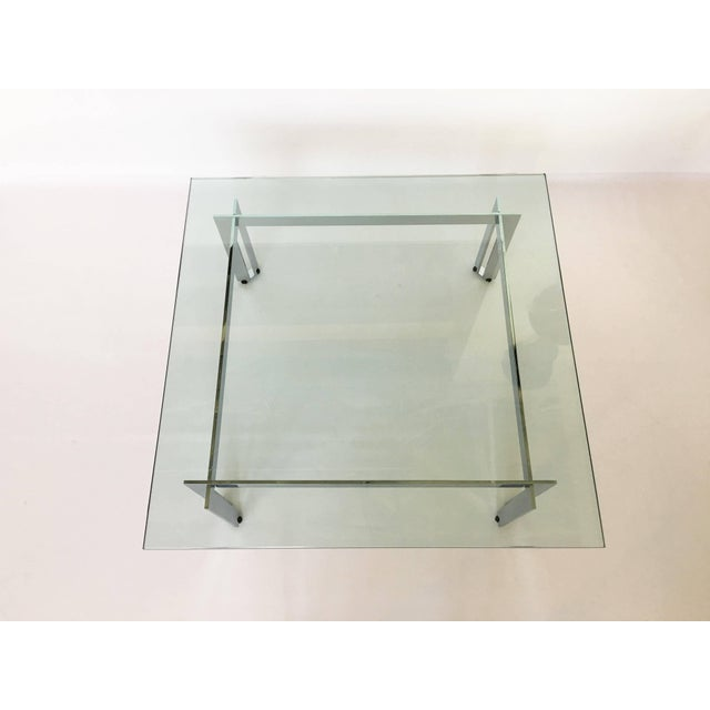 Silver Modernist Square Chrome and Glass Coffee Table For Sale - Image 8 of 9