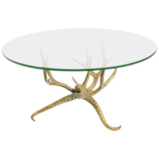 1960s Brass Antler Coffee Table For Sale