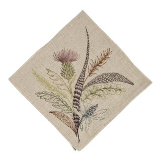 Contemporary Linen Thistle Dinner Napkin For Sale