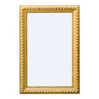 French Rectangular Giltwood Mirror with Gadrooned and Beaded Frame, circa 1900