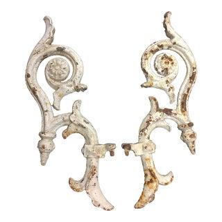 """Antique Arge 19"""" Cast-Iron Decorative Architectural Pieces - a Pair For Sale"""