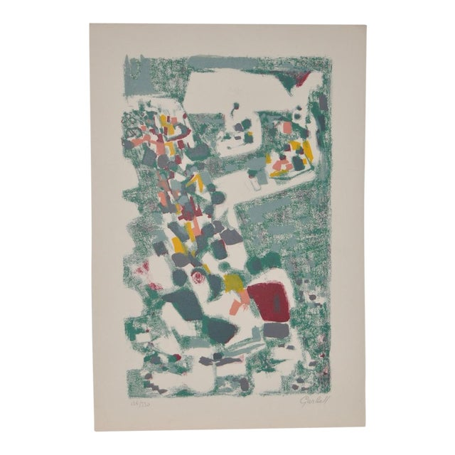 1950s Vintage Original Pencil Signed Lithograph by Alexandre Sacha Garbell For Sale