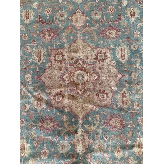 """Blue Persian Tapriz Rug 1930s 10'8"""" X 7' 6"""" For Sale - Image 8 of 10"""