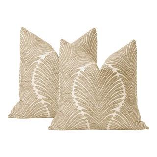 "22"" Musgrove Chenille Natural Pillows - a Pair For Sale"