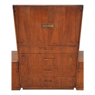 Vintage Maurice Villency Mid Century Danish Modern Walnut Highboy Dresser For Sale