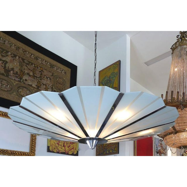 Monumental Circa 1960 Stainless Steel and Etched Glass Chandelier - Image 2 of 8