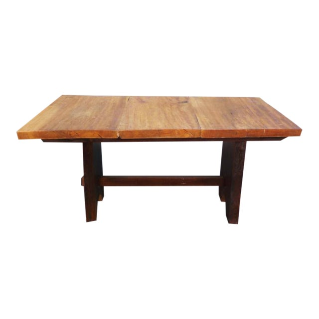 Rustic Mission Wood Slab Dining Table Desk For Sale