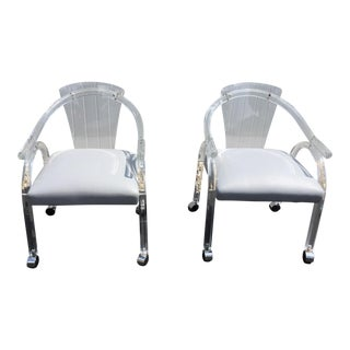 Vintage Lucite & Vinyl Seats Chairs - A Pair