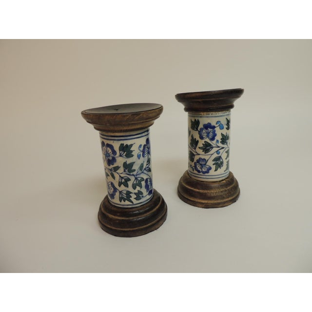 Blue & White Floral Ceramic Candle Holders - A Pair - Image 2 of 5