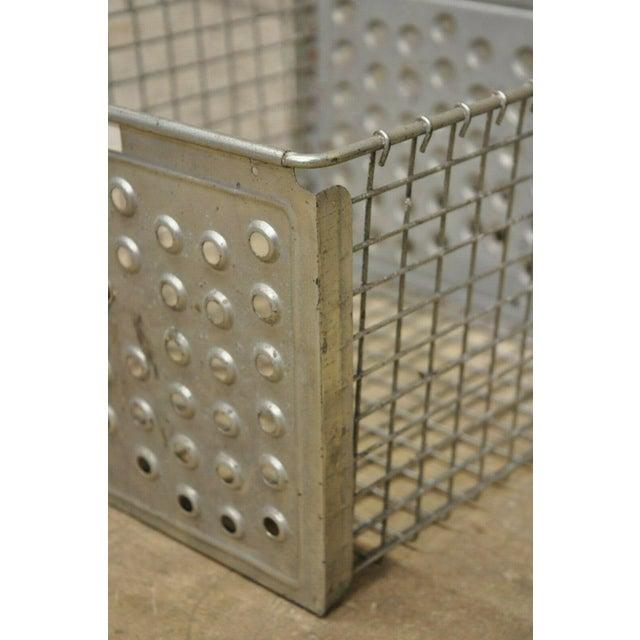 Mid 20th Century Vintage Kaspar Industrial Wire Works Metal Perforated Storage Gym Locker Basket For Sale - Image 5 of 12