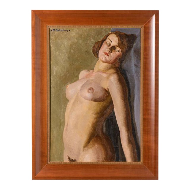 American Art Deco Painting of a Female Nude by Mabel Kaiser Saloomey - Image 1 of 7