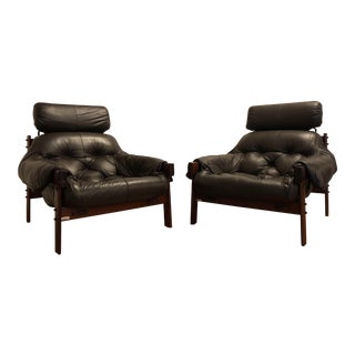 Percival Lafer Leather Lounge Chairs, Pair For Sale