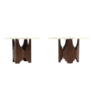 Pair of Mid-Century Modern Walnut Base Square Marble Top End Side Tables For Sale