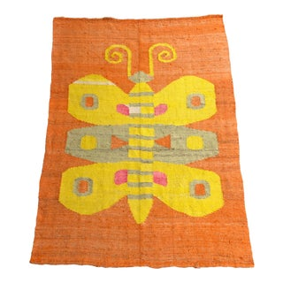 Vintage Hand Woven Butterfly Flat Weave For Sale